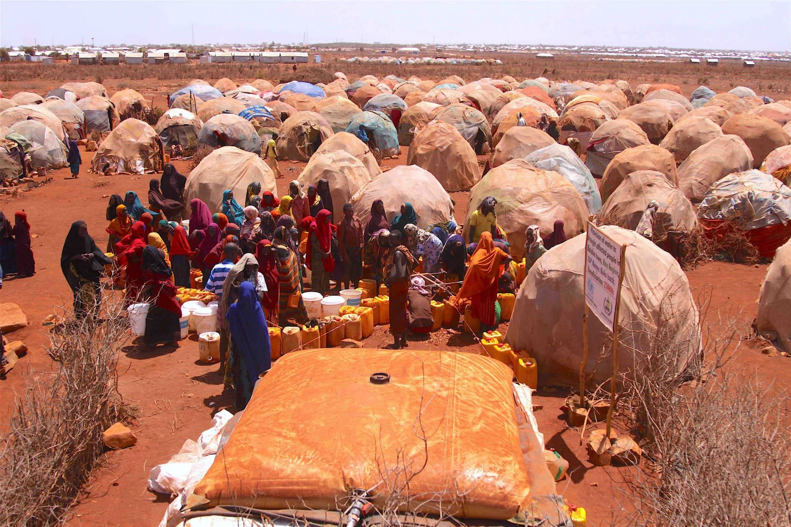 Water distribution at a temporary camp
