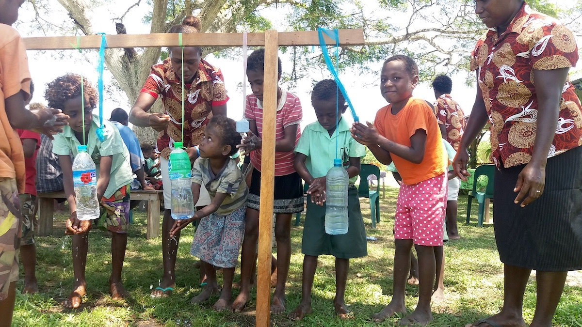 Aruvatu school hand-washing station