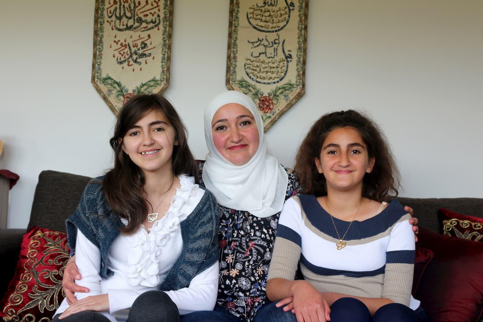 Batool Nakshbandi (14), Ramia Saidawi, and Bayan Nakshbandi (12) (From left to right)