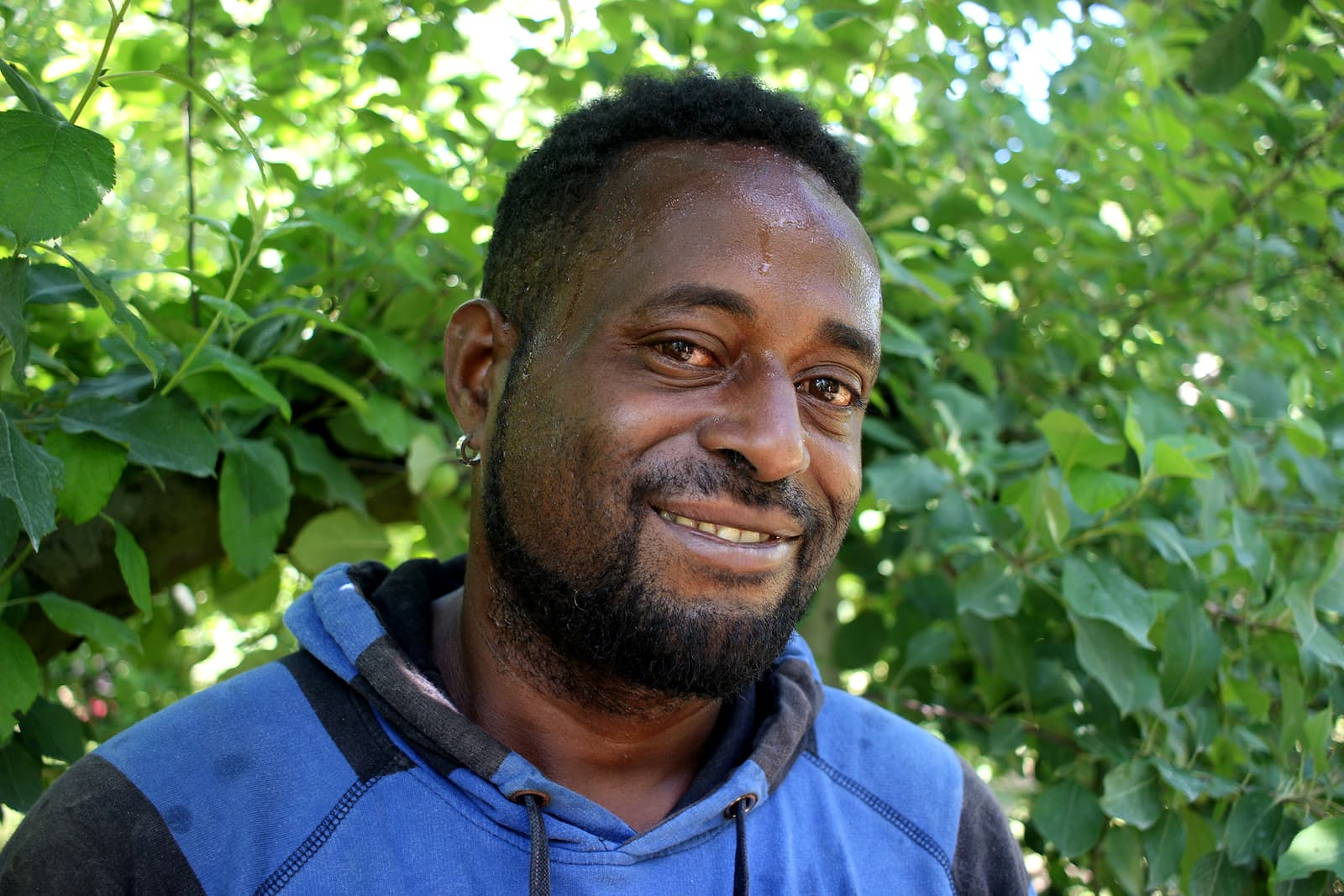 Michael has travelled from Vanuatu to work in New Zealand