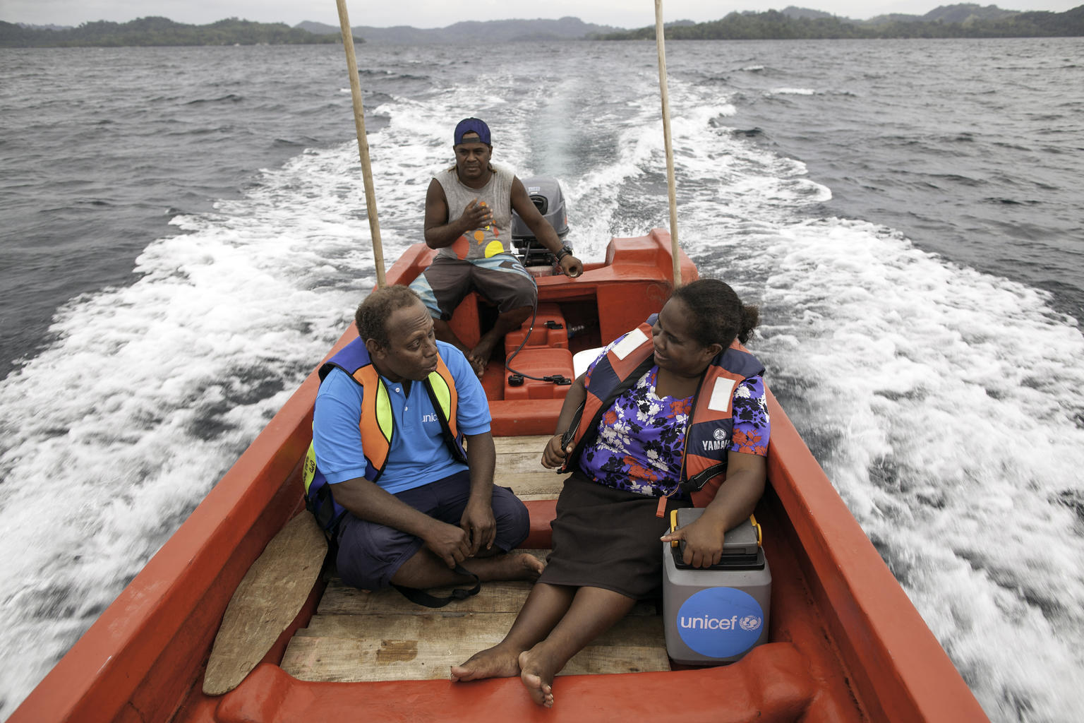 UNICEF Health Worker Paul Maesiala travels up to 3 hours by boat to reach children in remote Solomon Island communities