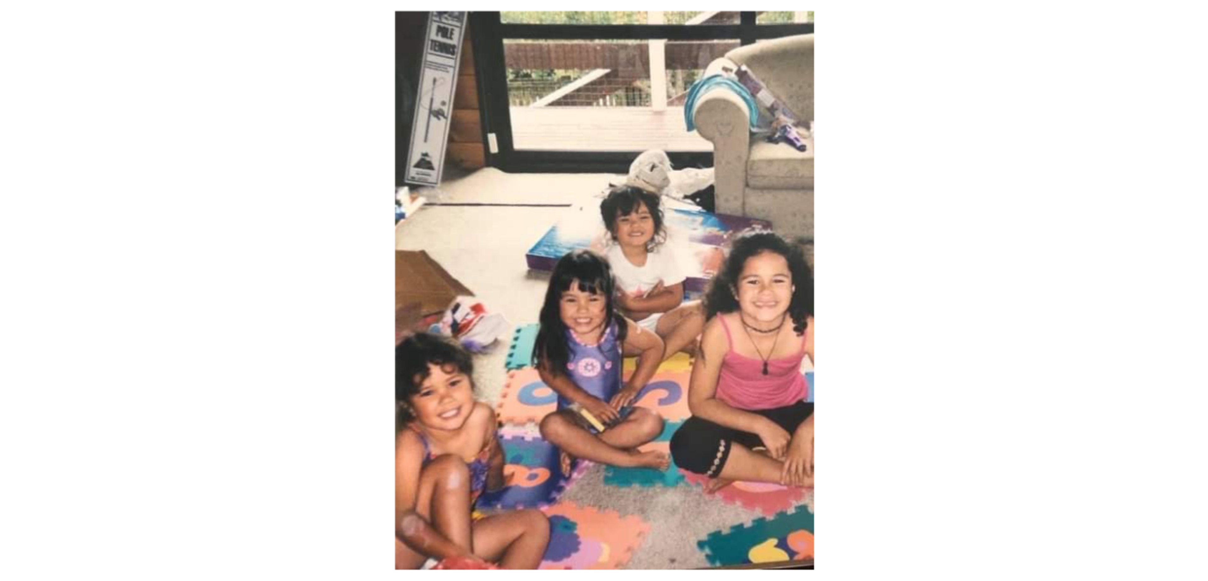 A family photo of Paige Tapara with her siblings.