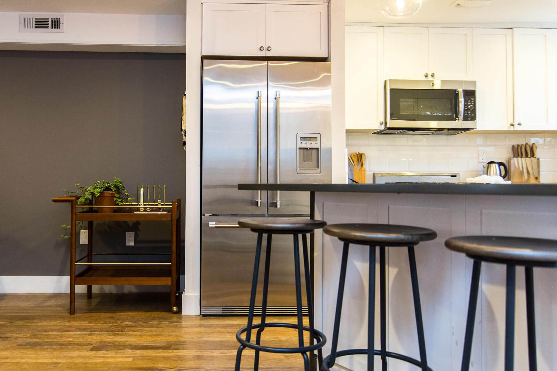 The shared kitchen at Common Albany in Crown Heights, Brooklyn.