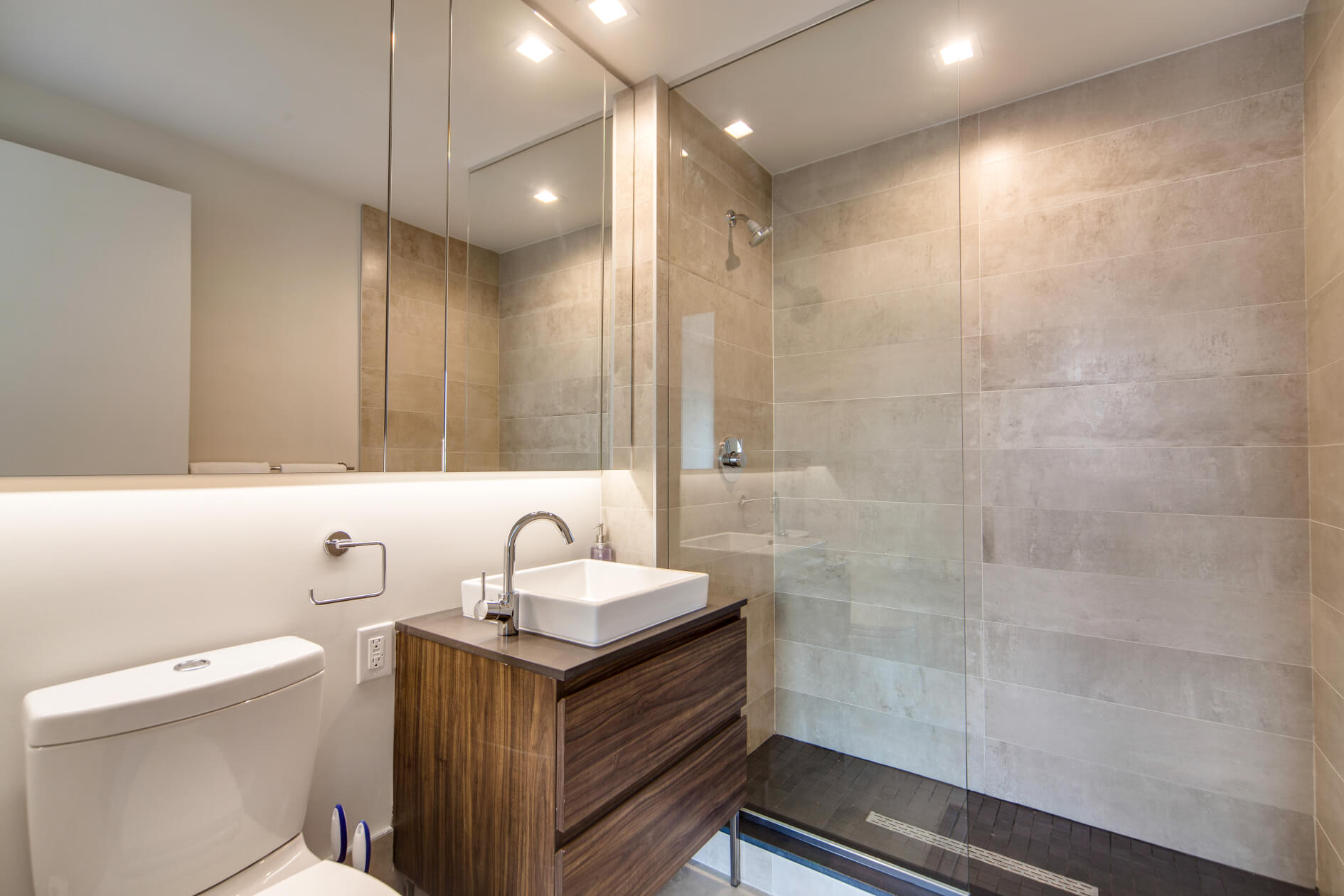 Two bedroom apartments all have two private bathrooms as well at Common Baltic in Boerum Hill, Brooklyn.