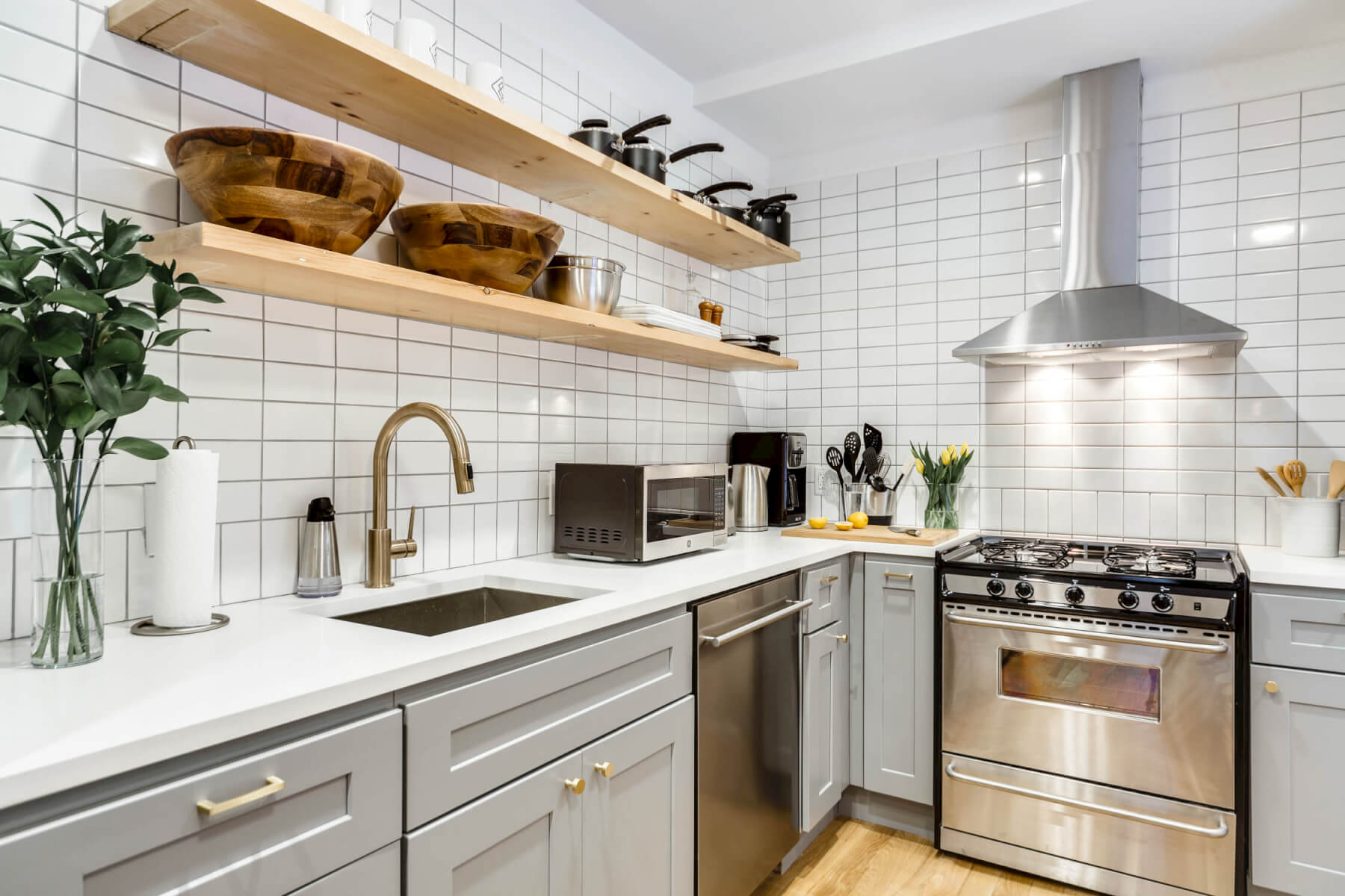 The shared kitchen at Common Kingston in Crown Heights, Brooklyn.