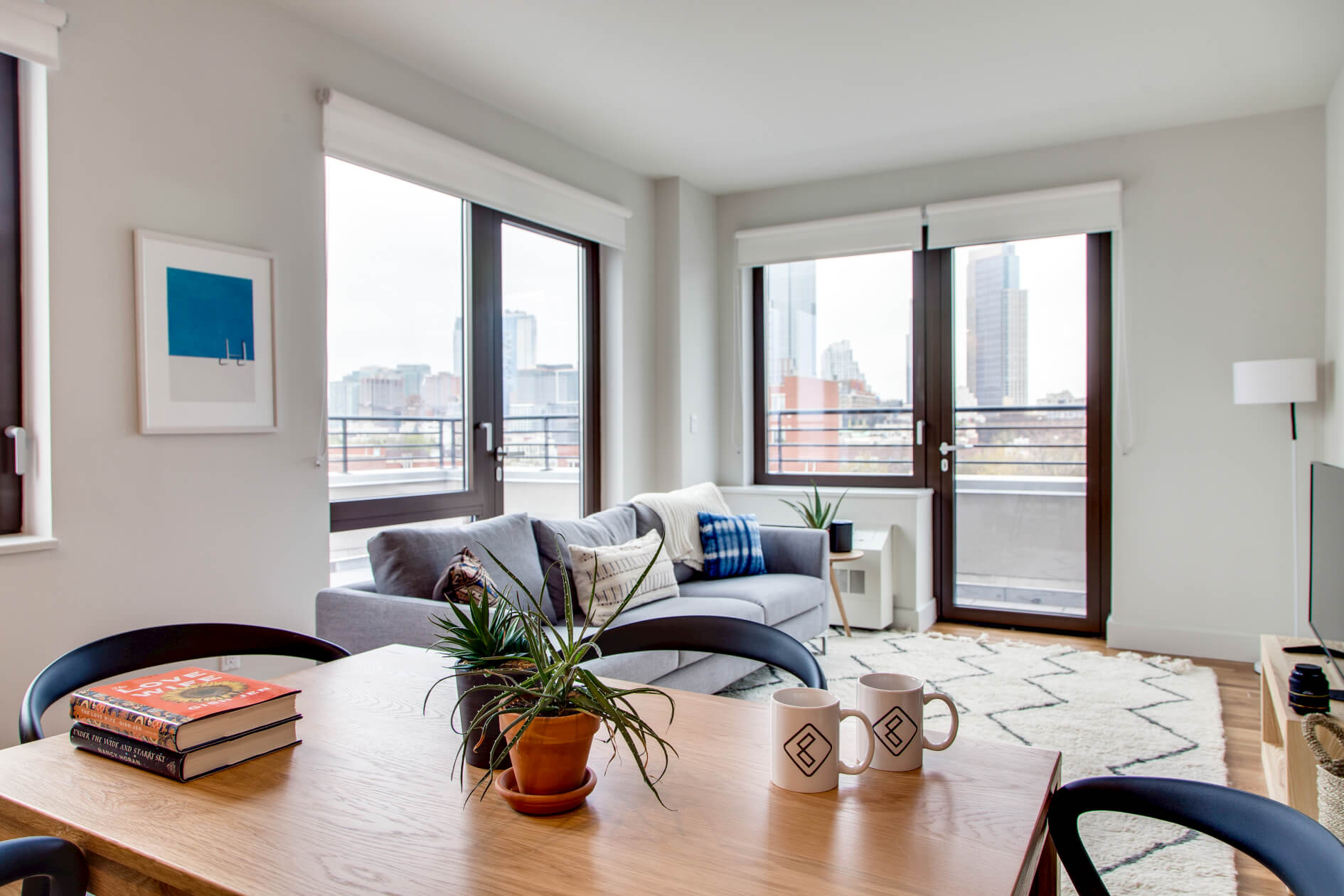 The shared living room at Common Baltic in Boerum Hill, Brooklyn.