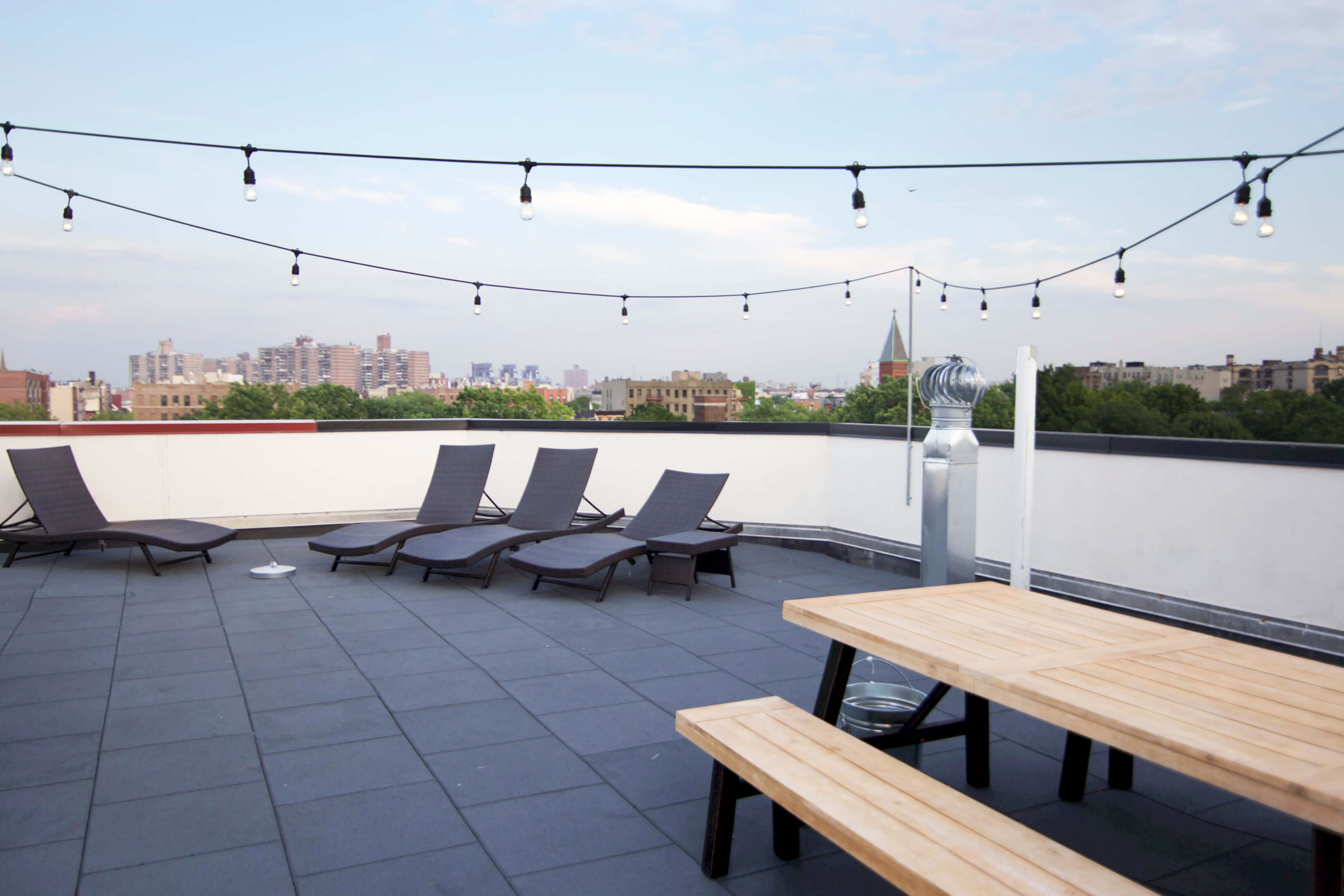 Every Common home has common areas for the entire home to hang out in. Pictured the rooftop at Common Havemeyer in Williamsburg, Brooklyn.