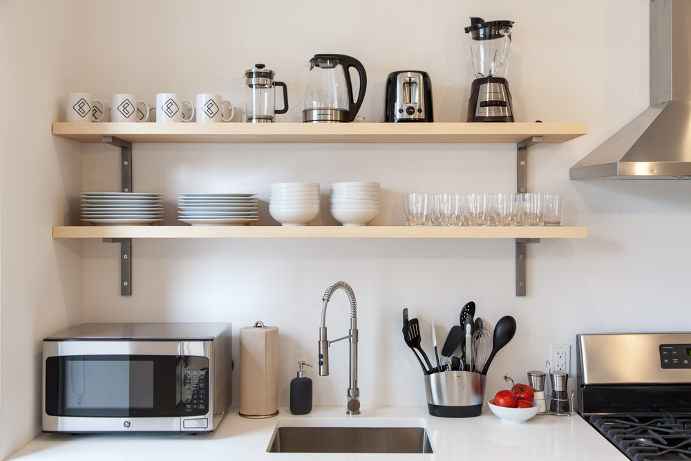 Your kitchen comes fully stocked with all the essentials you need at Common Lincoln in Brooklyn.