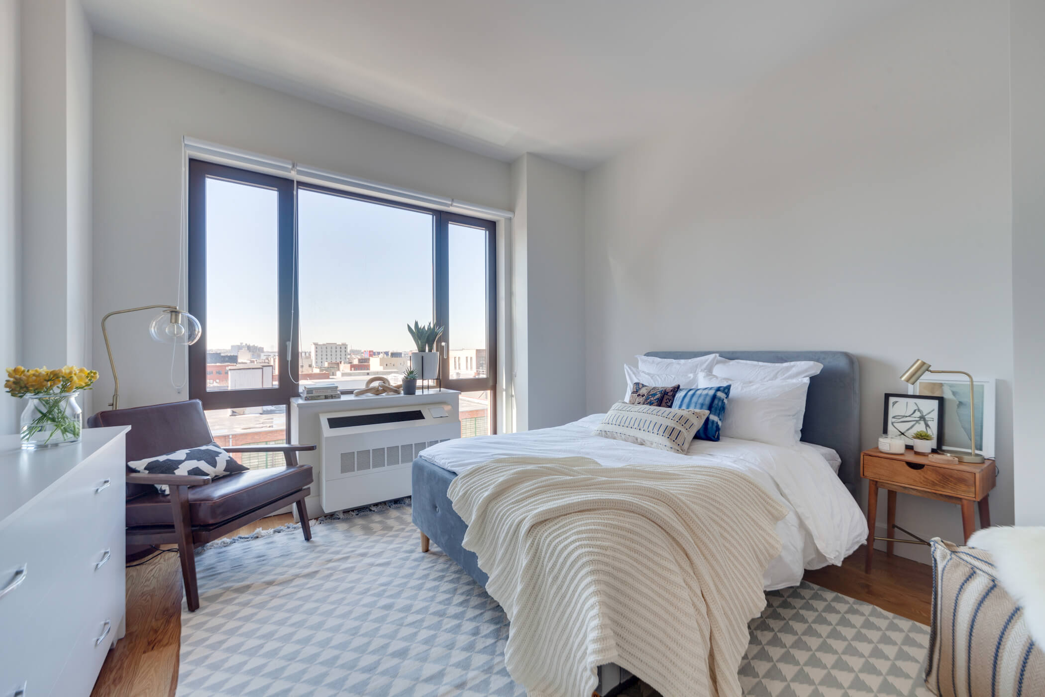 A furnished studio at Common Baltic in Boerum Hill, Brooklyn.