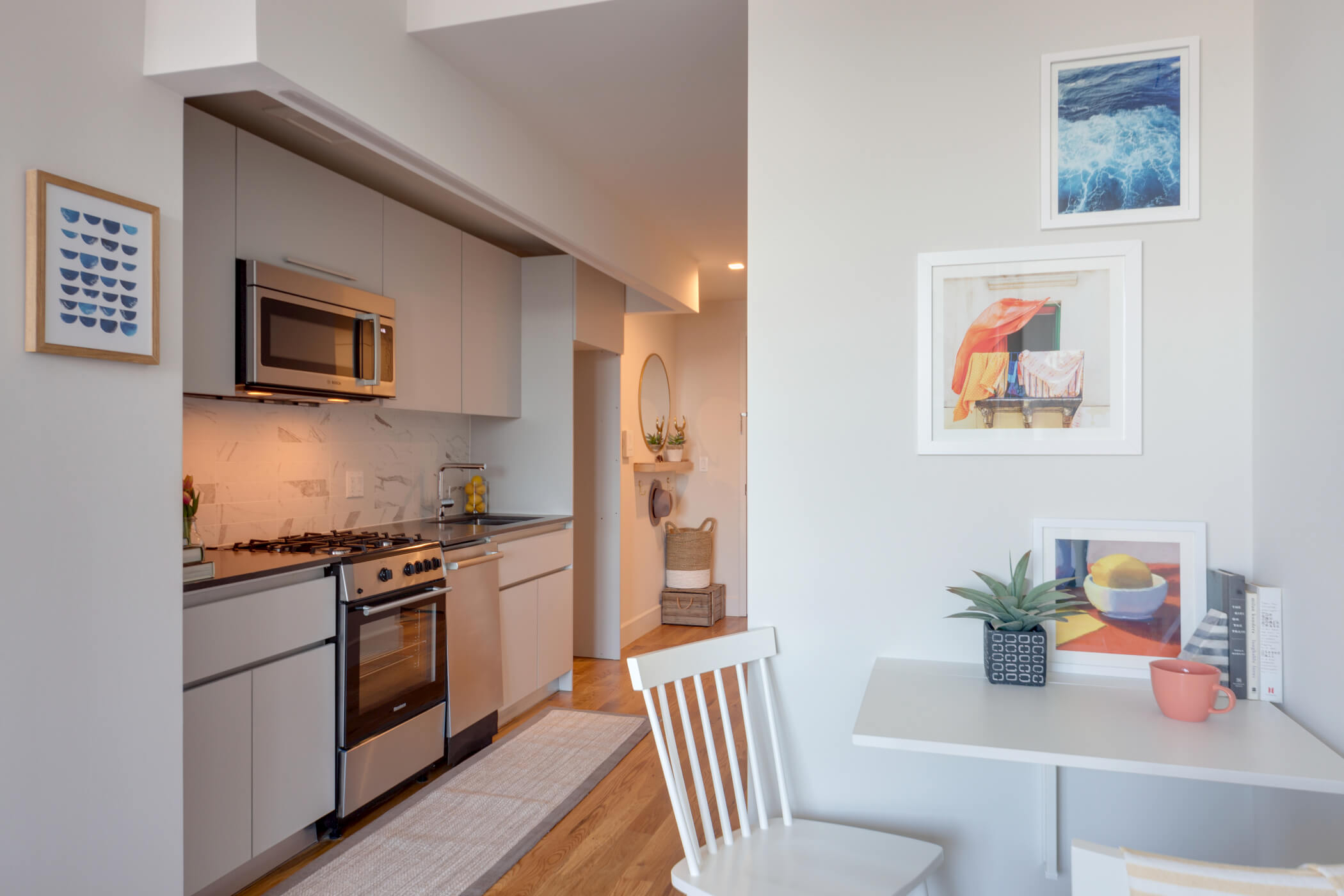 A furnished studio apartment at Common Baltic in Boerum Hill, Brooklyn.