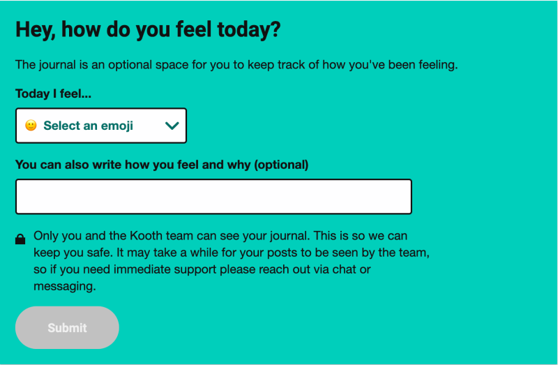 Screenshot from the Kooth daily journal where it asks the questions 'Hey, how do you feel today?'