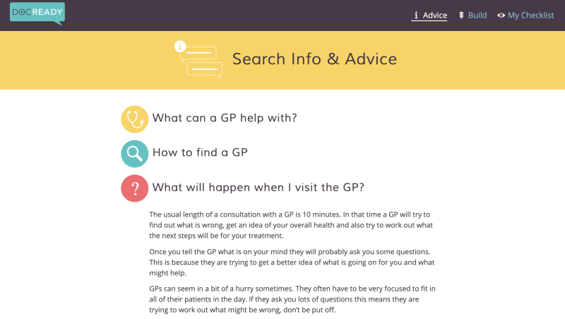 A screenshot of DocReady's webpage explaining what to expect from a visit to the GP