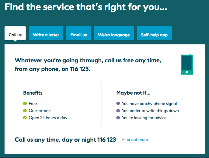Screenshot of the Samaritans webpage with different ways to get in contact