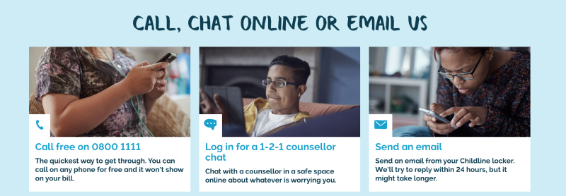 A screenshot from the Childline website with different channels of communication