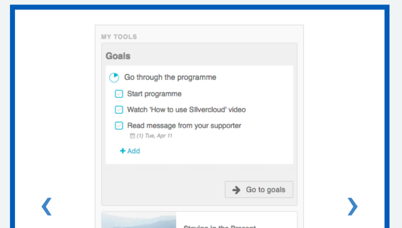 A screenshot of the SilverCloud app on a phone with headings 'go through the programme', 'start programme' etc.
