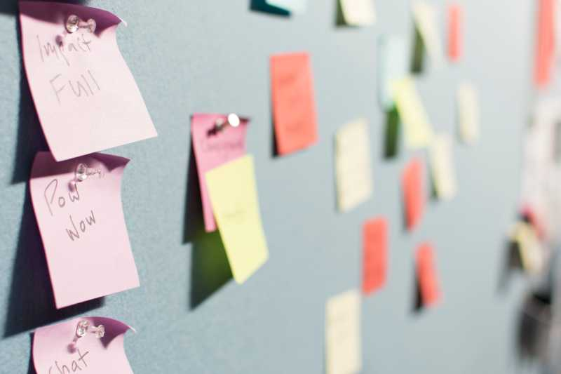 Image of colourful post it notes on a wall