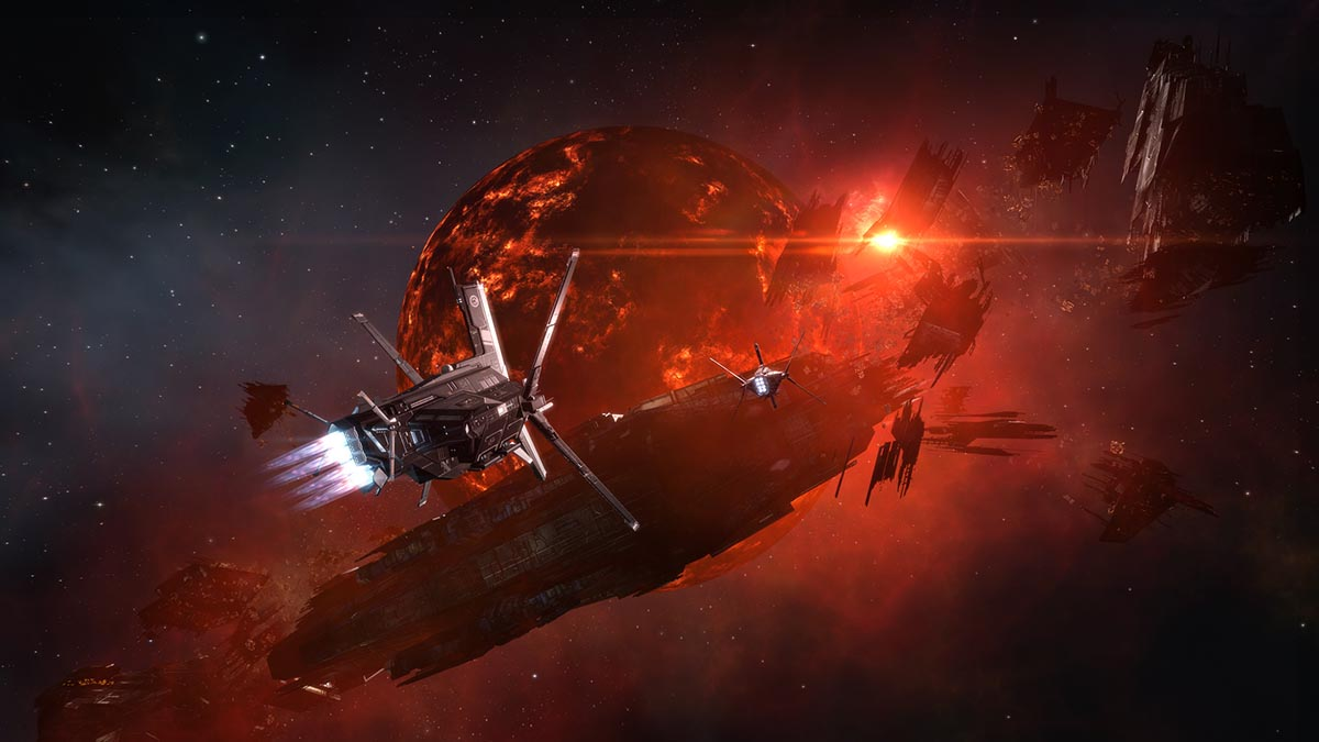 Strategy Game - Ship flying past planet