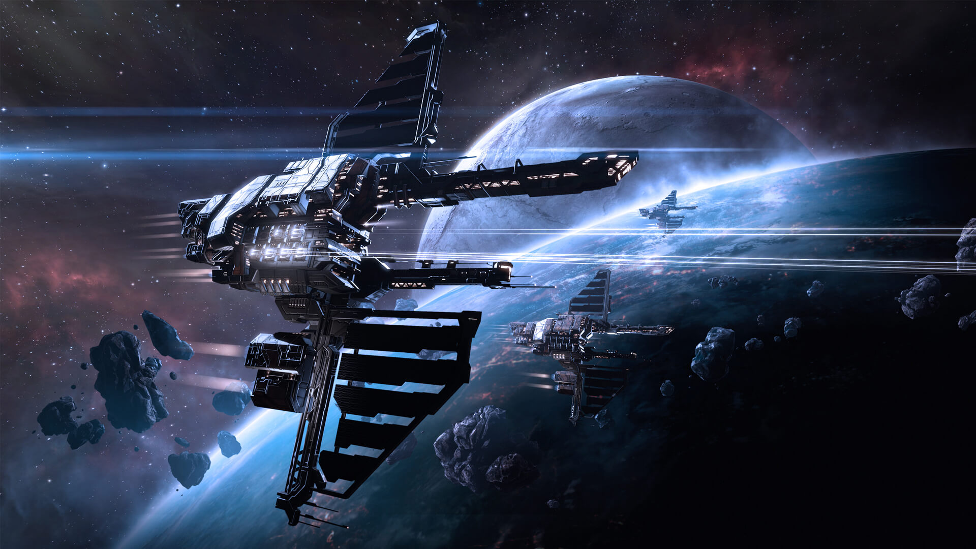 MMORPG - EVE Online, the #1 Space MMO. A spaceship flies by a planet