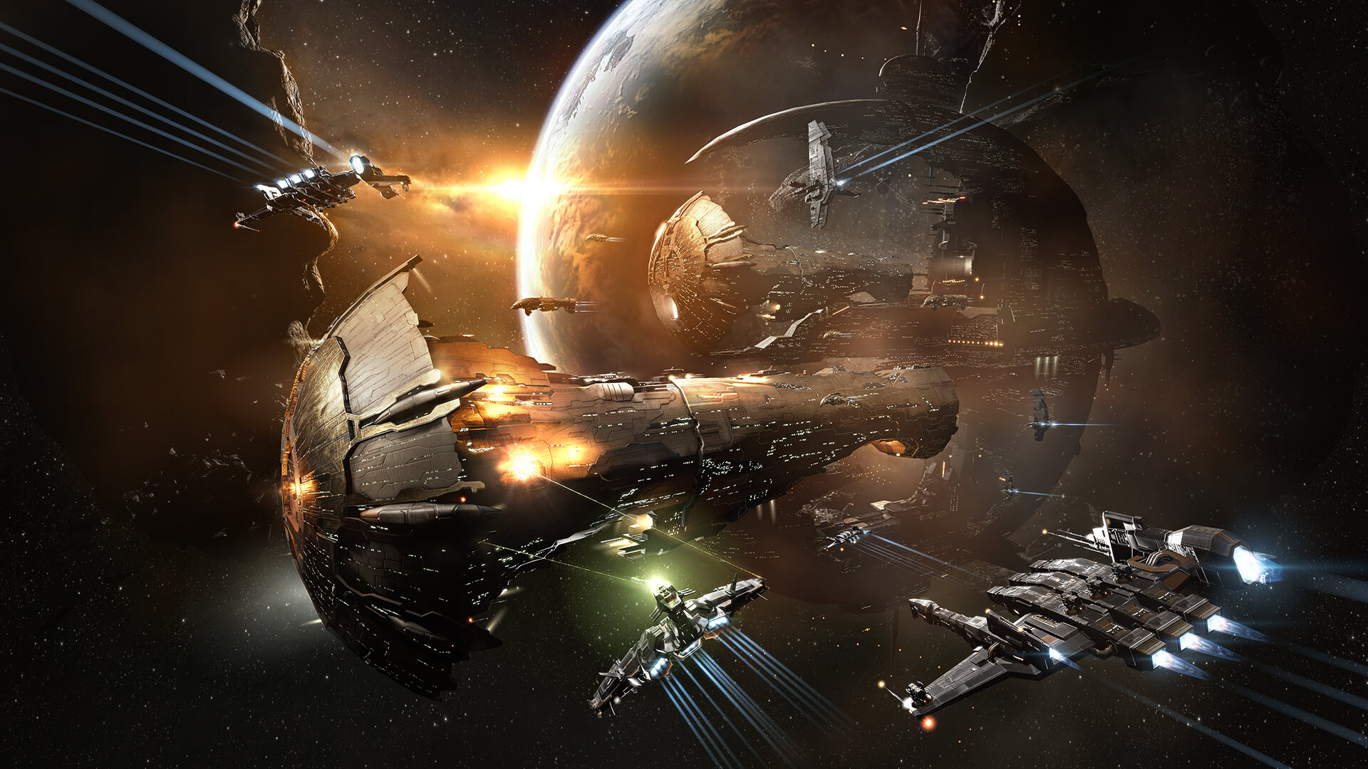 MMORPG - Engage in huge battles. Spaceships attacking an Avatar.