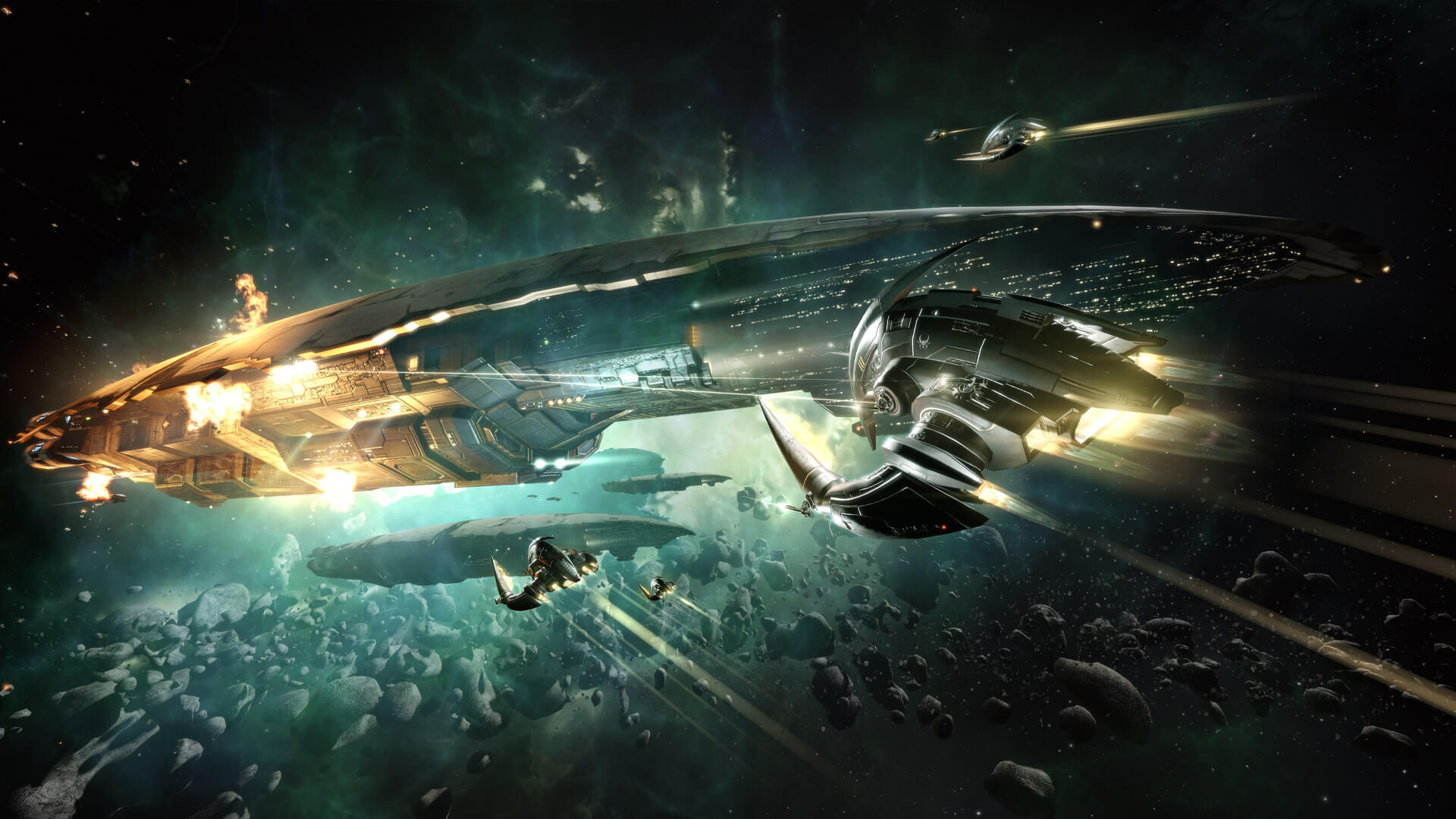 Space Game - MMORPG fight with smaller spaceships attacking a giant spaceship