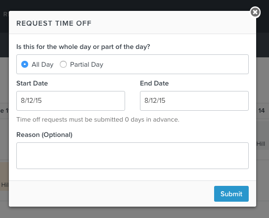 Employees Requesting Time Off – Request off Form
