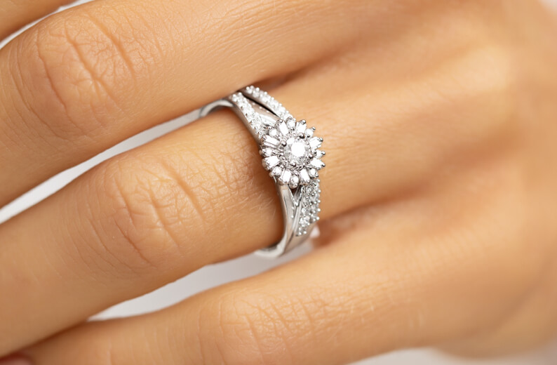 White Gold and Diamond Bridal Set on woman's hand at Michael Hill
