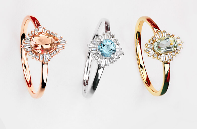 Rose Gold and Morganite Ballerina Ring, Sterling Silver and Topaz Ballerina Ring, and Yellow Gold and Emerald Ballerina Ring at Michael Hill
