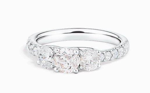 Three Stone Engagement Ring in white gold