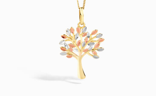 Tree of Life Pendant in Yellow, White & Rose Gold