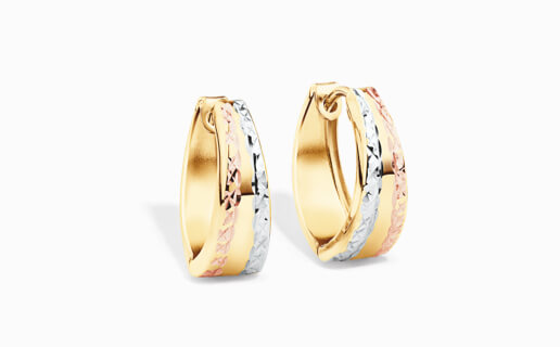 Hoop Earrings in Yellow Gold with rose and White gold
