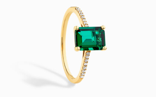 Ring with Created Emerald & Diamonds in Yellow Gold