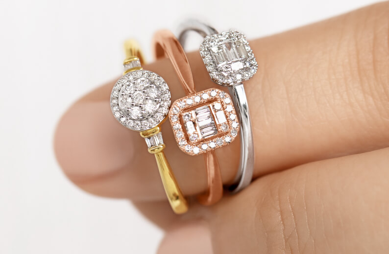 Yellow Gold Cluster Ring, Rose Gold Cluster Ring, and White Gold Cluster Ring