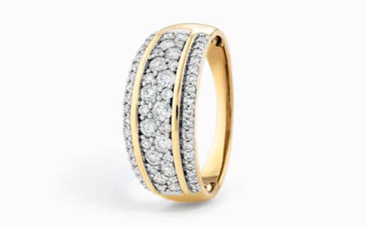 Diamond Cluster Band in Yellow Gold at Michael Hill
