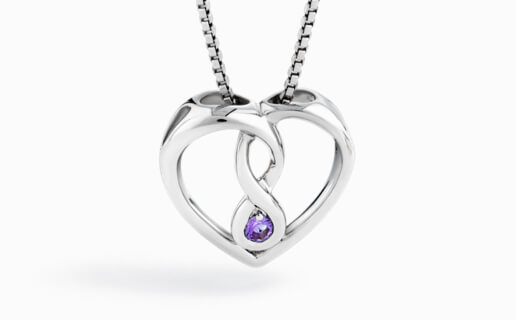 Sterling Silver Loveheart Pendant with Amethyst gemstone in Infinity Loop at Michael Hill