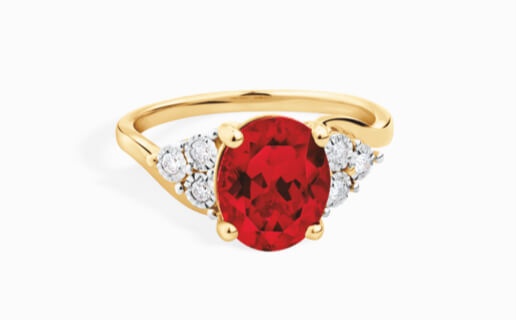 Ruby ring with diamond shoulders in yellow gold at Michael Hill