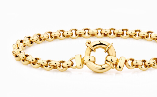Chunky yellow gold belcher chain bracelet
