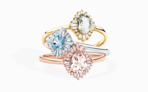 Ballerina Rings with Morganite, Sapphire and Emerald Gemstones from Michael Hill