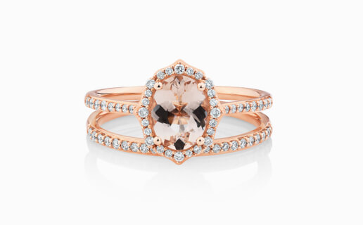 Rose Gold Morganite & Diamond Engagement Ring with Diamond Wedding Band in Bridal Set from Michael Hill