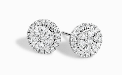 Sparkly round cluster diamond stud earrings