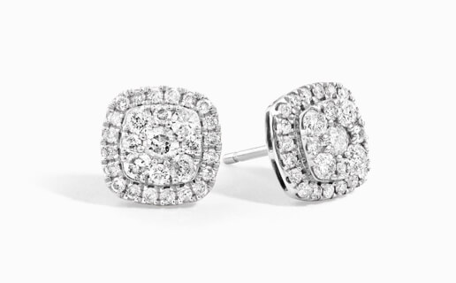 Cluster Earring of Diamonds in White Gold