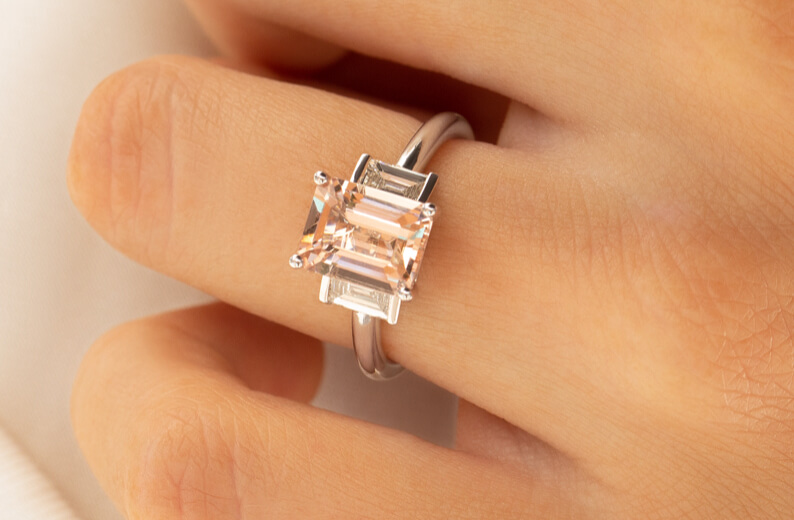 Morganite Engagement Ring in White Gold
