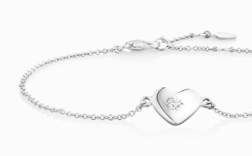 Sterling Silver Bracelet with Cubic Zirconia Heart Pendant at Michael Hill