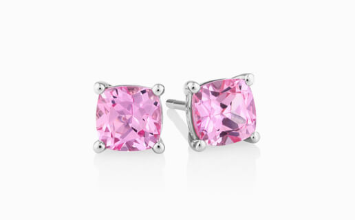Pink Sapphire Earrings in Sterling Silver from Michal Hill