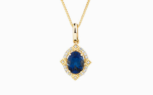 Sapphire Pendant with Diamonds in Yellow Gold from Michael Hill