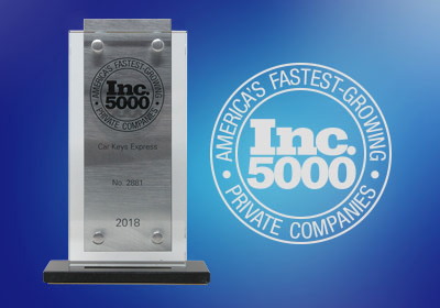 Car Keys Express wins Inc. Magazine's Inc. 5000 Award for the third year in a row.