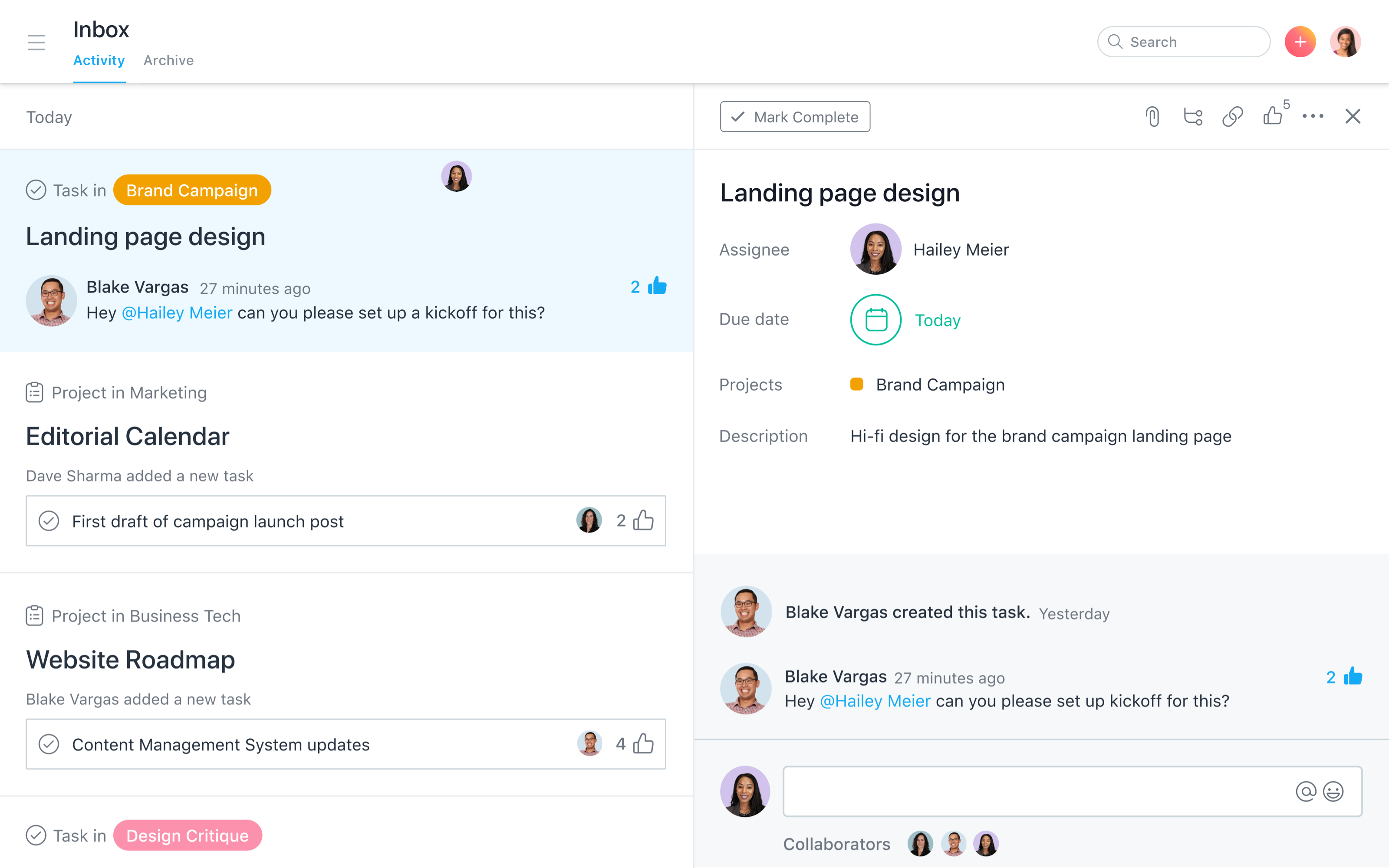 Project messaging in Asana