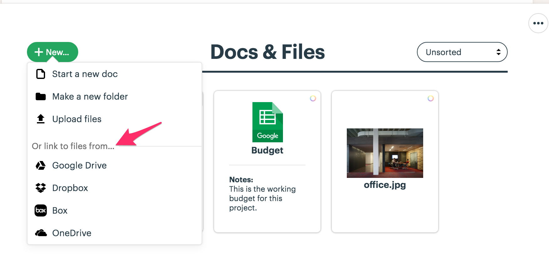 File sharing in Basecamp