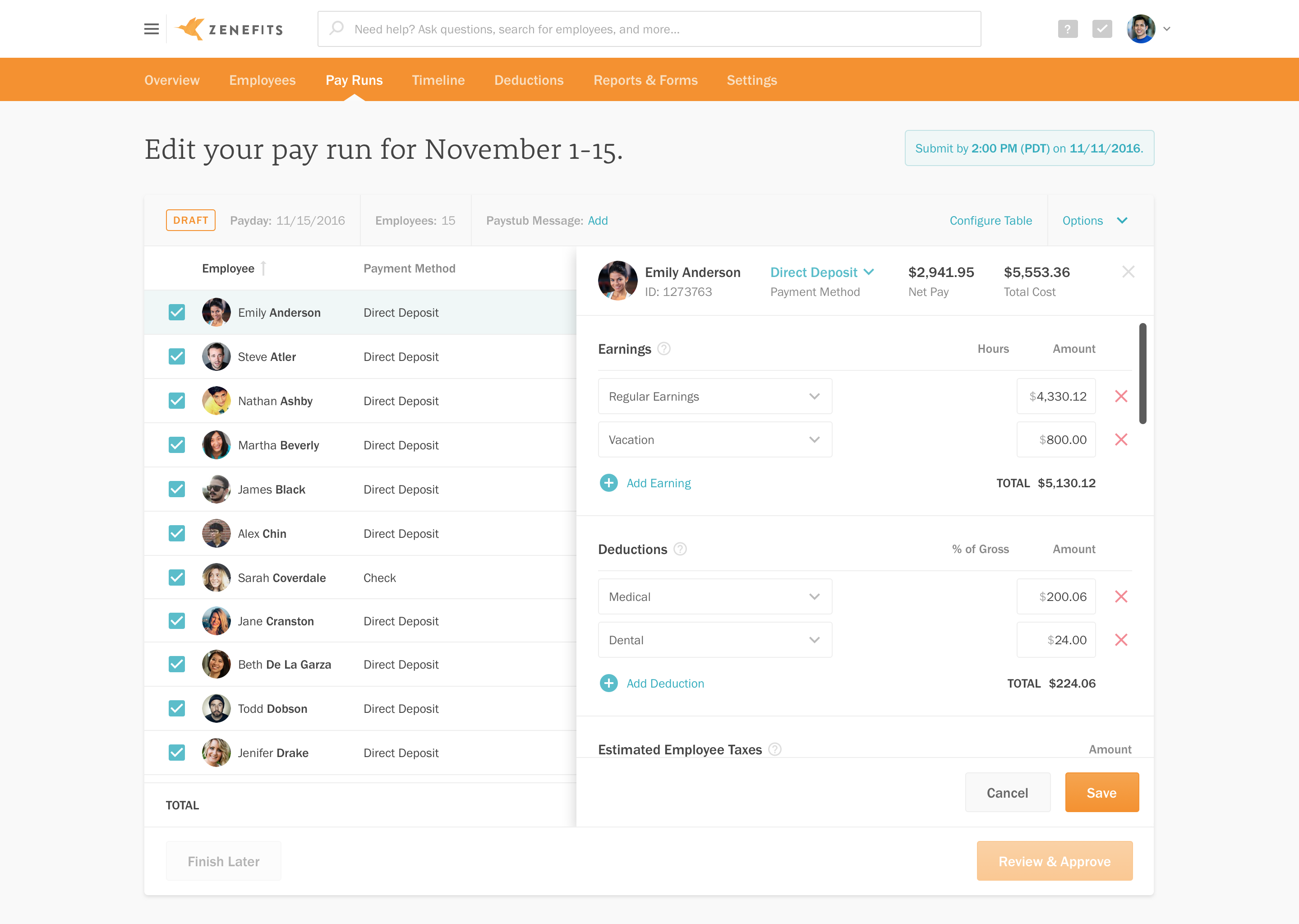 Payroll management in Zenefits
