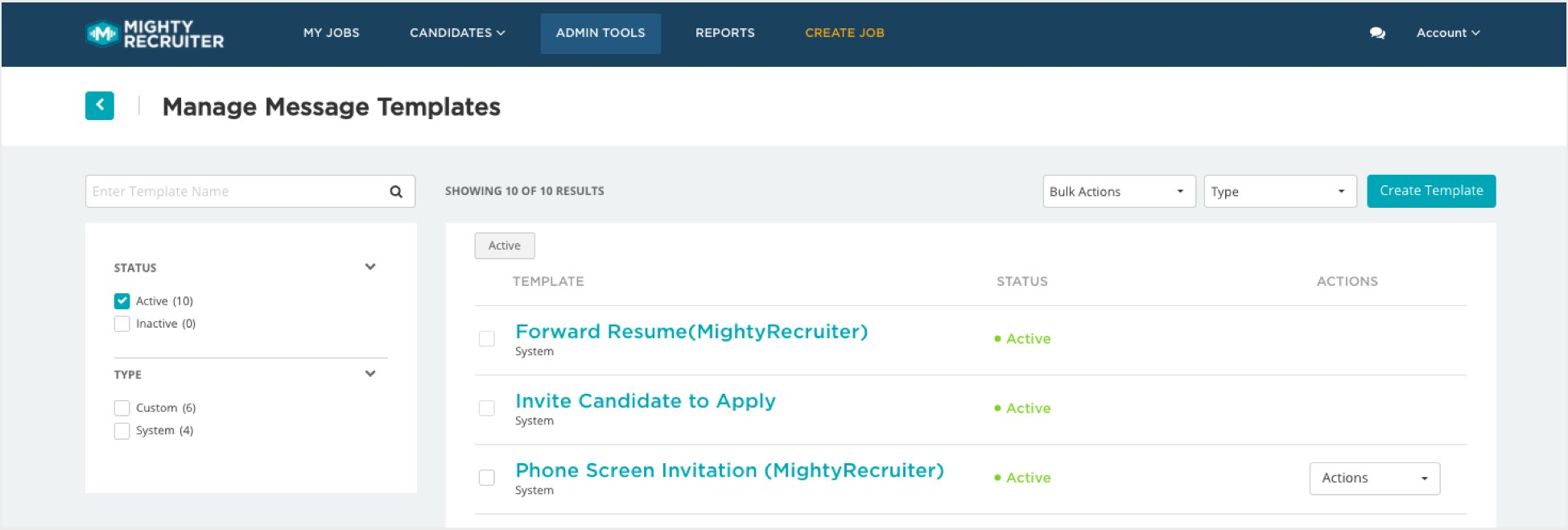 Candidate communication feature in Mighty recruiter