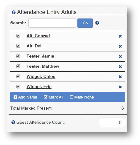 Attendance tracking ChurchTrac